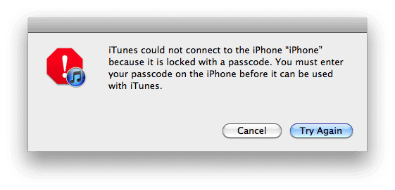 iTunes warning message