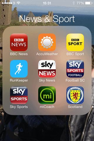 iOS 7 app folder