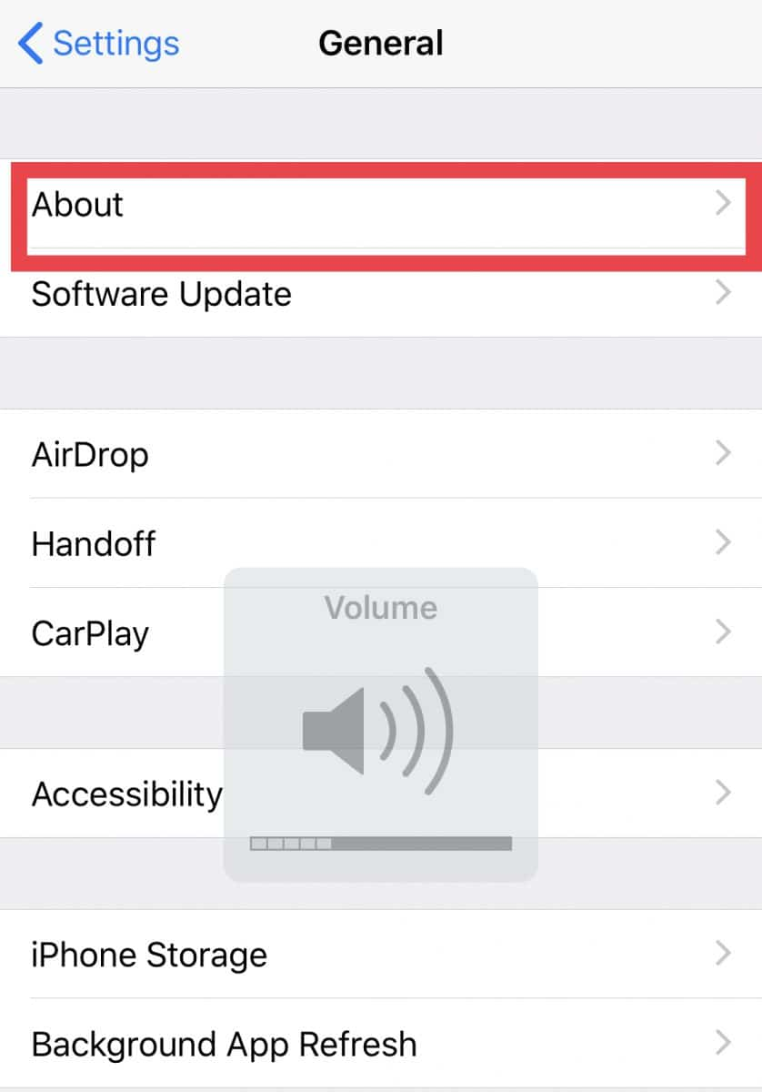 iOS about screen