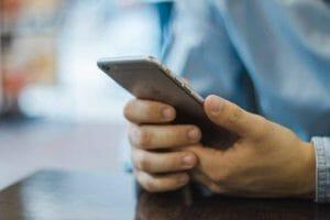 iPhone gesture being used
