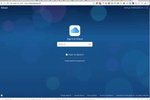 Icloud login screen on a web browser