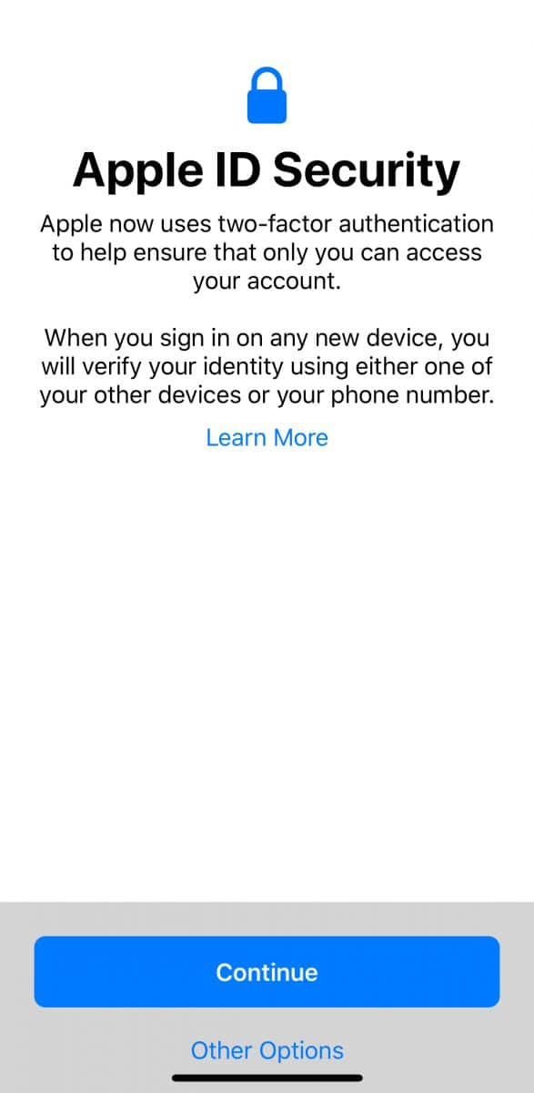 Apple ID security warning