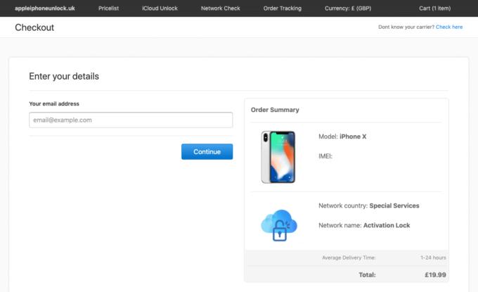appleiphoneunlock checkout page