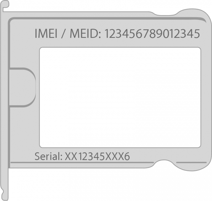 IMEI. on a SIM card tray