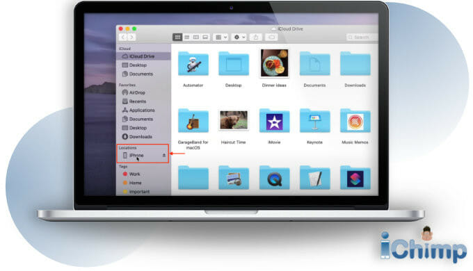 select iPhone from finder