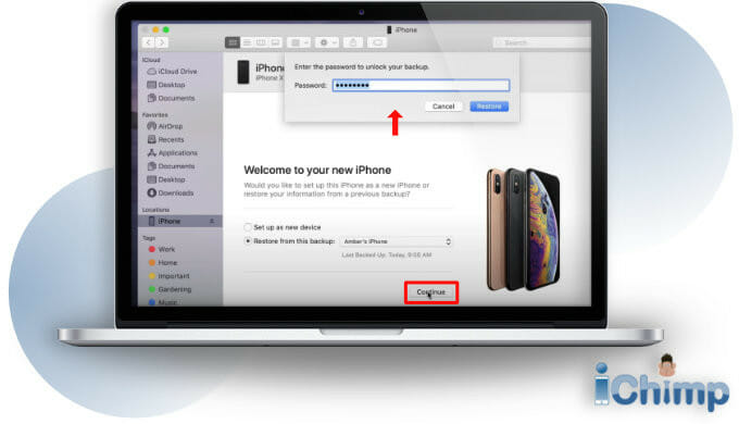 continue restore iPhone from finder