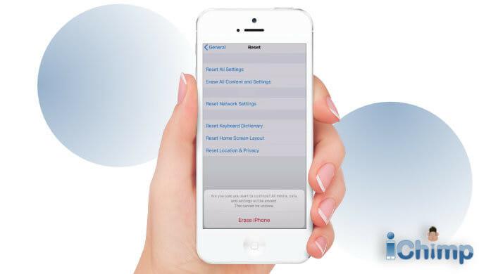 tap erase iphone