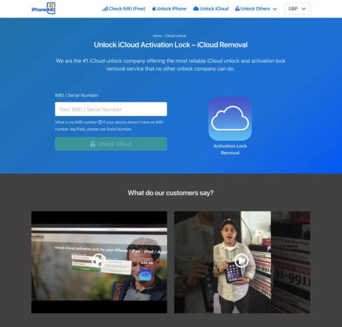 iPhoneIMEI website