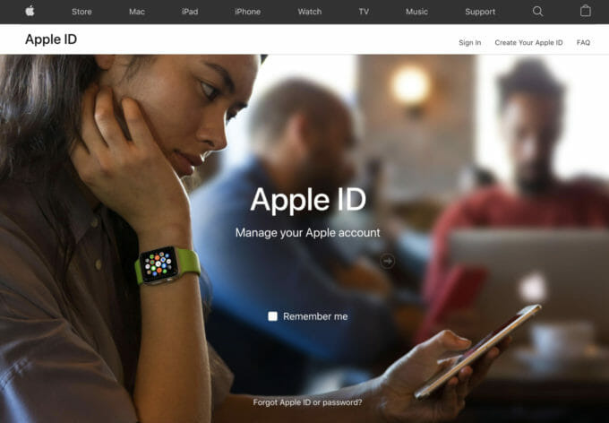 Apple ID website